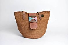 Sisal Market Tote with Leather Strap with Beaded Closure Pinterest Pinterest, Twitter Twitter, Simple Bags, All Sale, Sisal, Farmers Market, Ph, Bucket Bag, Beading
