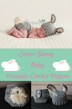 How precious is this for your Easter Baby?  Crochet Pattern is for a bunny beanie and diaper cover with a pom pom for a tail.  Great for photo sessions.  #printable #crochet #pattern #easter #bunny #baby #etsy #ad