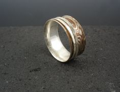 Spinner ring Sterling silver and copper mokume gane by slathered, $90.00