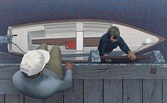 Alex Colville: Embarkation, 1994. Acrylic polymer emulsion of Panfibre wood particle board. 43.2 x 69.9 cm. Collection of the Beaverbrook Art Gallery, Fredericton, New Brunswick.