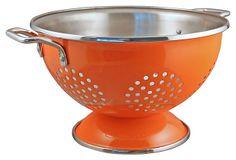 3 Qt Stainless Steel Colander, Orange on OneKingsLane.com