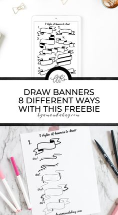 Learn the steps to create and draw banners in no time with these free printable worksheets. Add some fun doodles and dimension to your lettering and bullet journal! Free Printable Worksheets, Printable Planner, Free Printables, Banner Drawing, Drawing Letters, Drawing Lessons, Drawing Tips, Drawing Tutorials, Art Tutorials