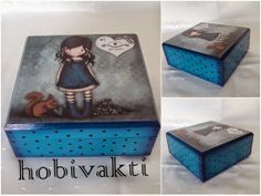♥♥ Hobi Vakti ♥♥: Küçük Mavi Kutu Cute Box, Pretty Box, Painted Boxes, Wooden Boxes, Home Crafts, Diy And Crafts, Decoupage Box, Craft Bags, Kids Boxing