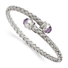 Leslie's Sterling Silver Amethyst and CZ Braided Flexible Bangle SKU: QGQLF330 $173.99