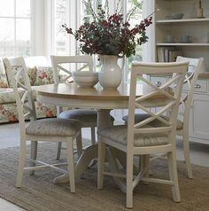 Painted Dining Table: Cottage Oak And Painted Round Dining Table