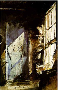 Where the Benjamin Moore color Wyeth Blue came from: Blue Door / Andrew Wyeth / 1952 / watercolor on paper / Delaware Art Museum Andrew Wyeth Paintings, Andrew Wyeth Art, Dark Paintings, Beautiful Paintings, Jamie Wyeth, Wyeth Blue, Art Watercolor, Oeuvre D'art, Les Oeuvres