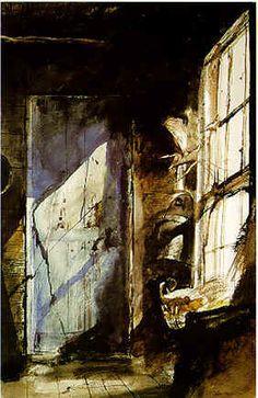 The Door / Andrew Wyeth. Me encanta el efecto de luz entrando por la ventana.