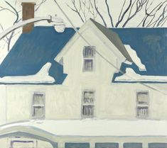PORCH ROOF SNOW PILE 2014 oil on masonite  20 x 14 inches