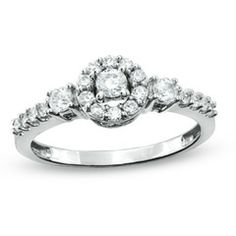 1/2 CT. T.W. Diamond Frame Three Stone Ring in 10K White Gold - View All Rings - Zales