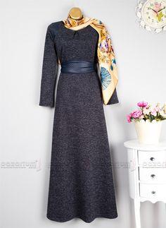 Deri Detaylı Kar Taneli Elbise (Lacivert)