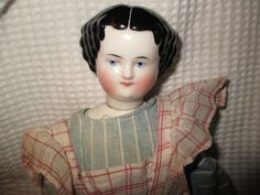 "17"" Antique Swivel Head China Doll China Shoulder Plate Antique Cloth Body 