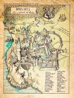 Hogwarts Map -- I want this framed!