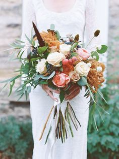 I love the beautiful natural look of this wedding bouquet! Photo Credit: http://www.benincosaweddings.com/. Floral Design by http://www.jolleysgifts.com/. From http://www.stylemepretty.com/2015/06/02/elegant-park-city-wedding/.