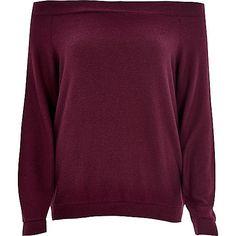 Dark purple long sleeve bardot top - bardot / cold shoulder tops - tops - women