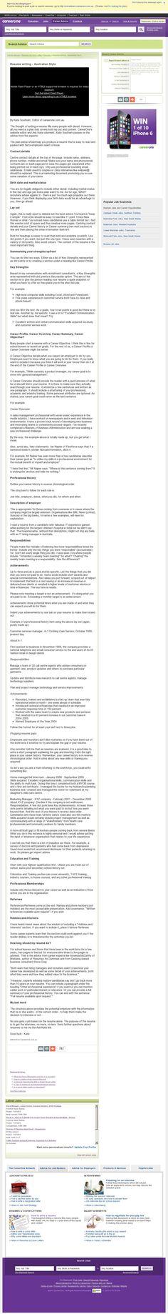 Resume Tips: http://career-advice.careerone.com.au/resume-cover-letter/resume-writing/resume-writing-the-basics/article.aspx (courtesy of @Pinstamatic http://pinstamatic.com)