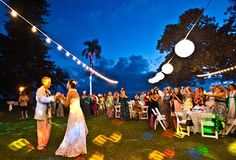 Euro lighting and other event equipment rentals at a catered wedding reception in West Maui.