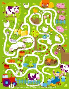 farm maze by bora Farm Activities, Preschool Worksheets, Preschool Activities, Writing Activities, Farm Animal Crafts, Farm Animals, Mazes For Kids, Crafts For Kids, Farm Unit