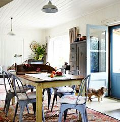 Love The Kitchen Table And Blue Back Door Dining Room