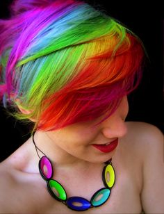 My new rainbow hair! Thank you Cathy Scanlon (my boss) for doing the colour and also for the birthday necklace! ♥ Want rainbow hair? Check out Anya's guide here: www.rainbowhaircolour.com