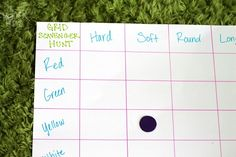 find a soft yellow object-- Grid scavenger hunt