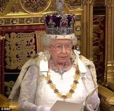 Queen Elizabeth II attends the State Opening of Parliament. May 18 2016 Royal Crowns, Royal Tiaras, Royal Jewels, Crown Jewels, Imperial State Crown, Lab, Defender Of The Faith, Queen Birthday, Queen Mother