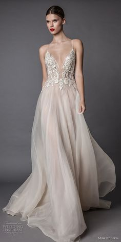muse berta fall 2017 bridal spagetti strap deep sweetheart neckline heavily embroidered bodice tulle skirt romantic sexy blush flowy a  line wedding dress open low back sweep train (amata) mv