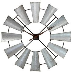 Features:  -Material: Iron.  -Finish: Distressed steel.  -Suggested for indoor use only.  -Large rustic hour and minute hands.  -High quality quartz movement.  -Uses 1 AA battery (not included).  Prod