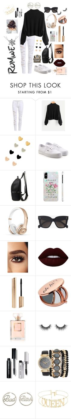 """Romwe"" by gabrielle1000love ❤ liked on Polyvore featuring Vans, CÉLINE, Lime Crime, Miss Selfridge, Chanel, Bobbi Brown Cosmetics, Jessica Carlyle and me you"