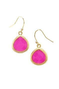 magenta drop earrings.