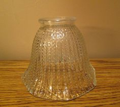 """Hobnail Clear Glass Lamp Shade with Eight Section Fluted Bottom- Approx. 1/4"""" Thick - With Free Shipping"""