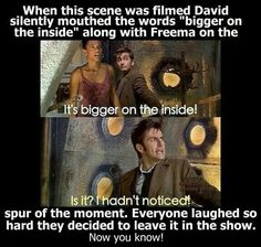 Bigger on the inside. I love that bit! It always made me laugh.