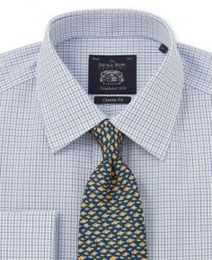 d81a432d Non-Iron White Blue Check Classic Fit Double Cuff Shirt - Collar Detail -  Large Image