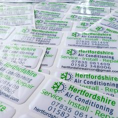 Another freshly delivered batch of 3D domed stickers. We're proud of our quality #aircon installations throughout #Hertfordshire so we're very pleased to have our name on the side of our units! www.hertfordshireaircon.co.uk
