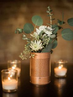 DIY gold spray painted tin floral centerpiece