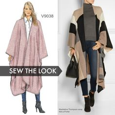 Sew the Look: Vogue Patterns V9038 blanket cape sewing pattern. Make this chic look using a soft old blanket!