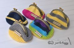 #Crochet coin purse free pattern from Just Be Happy