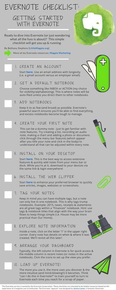Cool checklist for getting started with evernote. And its free too!