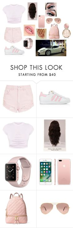 """""""Untitled #70"""" by soukainajaber on Polyvore featuring Topshop, adidas, Ferrari, WigYouUp, Apple, MICHAEL Michael Kors, Ray-Ban and Bulgari"""