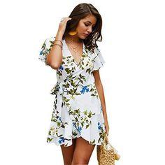Leaves Printed V-Neck Mini Dress,PAOLIAN Summer Women Short Sleeve Wrap Sash Lace-up Peplum Dresses Casual Boho Beach Skirts