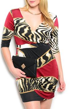 Plus Size Sexy Fitted Animal Mixed Print Open Back Date Dress
