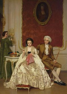 Jalousie. Huile sur toile en 1861 de Petrus Renier Hubertus Knarren (belge 1826-1869)