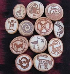Collection of 12 Ceramic Rock Art Refrigerator Magnets Pebble Painting, Pebble Art, Stone Painting, Stone Crafts, Rock Crafts, Native Art, Native American Art, Rock And Pebbles, Aboriginal Art
