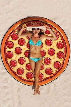 Red Pizza Print Cute Cover Up | Psychedelic Monk