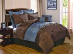 Victoria Classics Harmony 8-Piece Queen Comforter Set, Blue/Chocolate