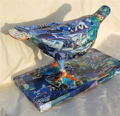 """Mixed Media Artists International: Pigeon Torn Paper Collage, """"Paris Pigeon, 12080 by Texas Daily Painter and Collage Artist Nancy Standlee Collage Artists, Mixed Media Artists, Collage Sculpture, Daily Painters, Torn Paper, Collaborative Art, Art Blog, Decorative Boxes, Fine Art"""