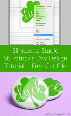 Step-by-step tutorial to design a St. Patrick's Day shamrock cut file using Silhouette Studio. Great for Cameo, Portrait, or Curio crafters. Silouette Cameo Projects, Silhouette Cameo Tutorials, Silhouette Projects, Silhouette Studio, Swirly Fonts, Vinyl Crafts, Vinyl Projects, Silhouette Portrait, Creative Memories