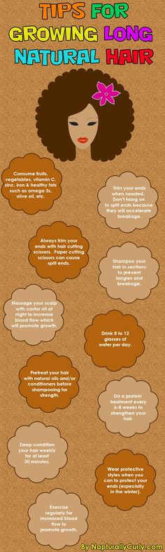 Tips for growing natural hair healthy and long. See myths about natural hair growth here napturallycurly.c...