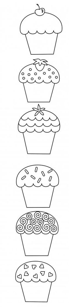 Cupcake coloring pages Here are some interesting coloring pages of cupcakes for your little one Make your world more colorful with free printable coloring pages from italks. Our free coloring pages for adults and kids. Cupcake Coloring Pages, Colouring Pages, Adult Coloring Pages, Coloring Sheets, Coloring Books, Applique Templates, Applique Patterns, Applique Designs, Embroidery Designs