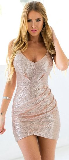 Sumptuous Gold Sequins Bandage Cocktail Slip Mini Bodycon Party Dress! More at http://www.cutedresses.co/go/Sequins-Bandage-Cocktail-Slip-Mini-Bodycon-Party-Dress