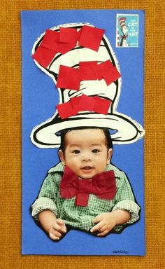 """""""The Cat in the Hat"""" by Dr. Seuss - art activity. I used a photo of my baby for the art sample.  =)"""